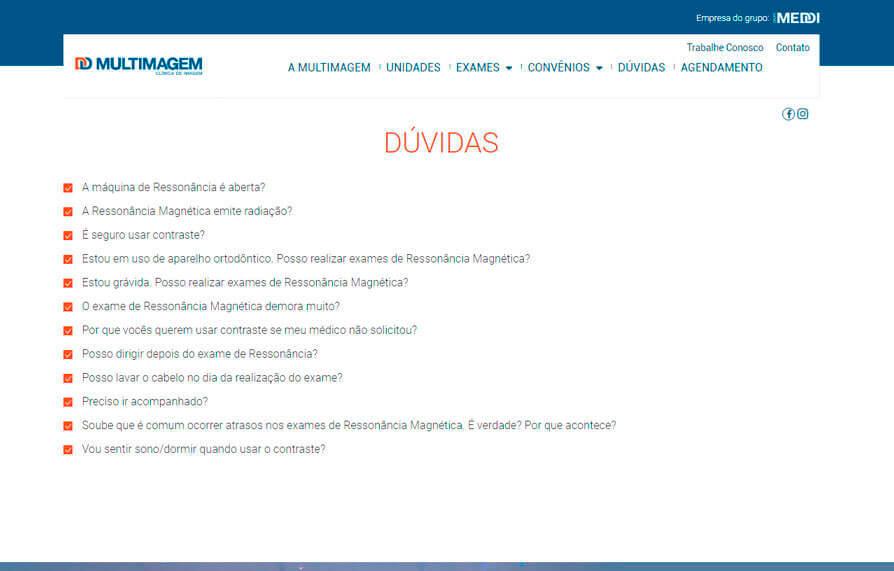 Dúvidas Frequentes - Site Multimagem 2016 - Click Interativo