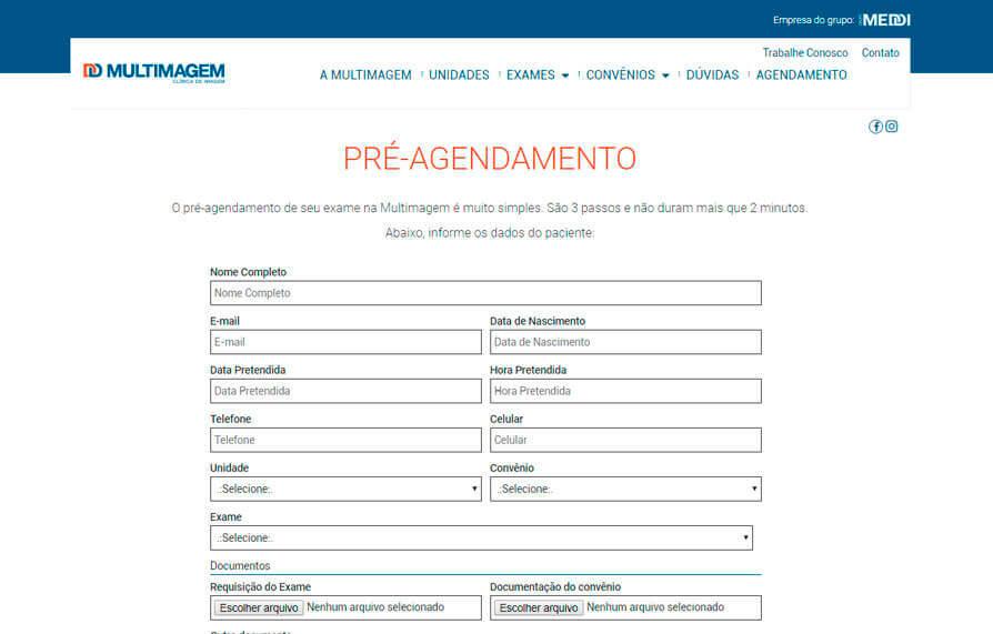 Pré-agendamento de Exames - Site Multimagem 2016 - Click Interativo