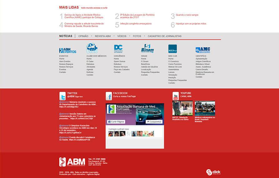 Site da ABM, desenvolvido em 2010 pela Click Interativo