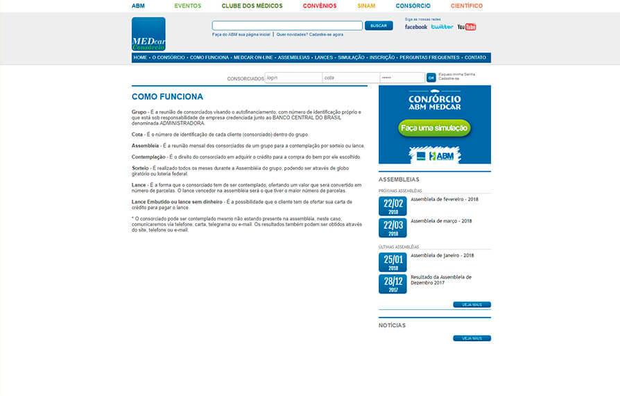 Site da MEDCAR ABM 2010 - Click Interativo