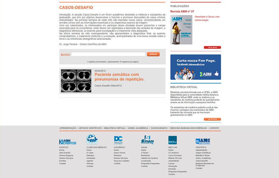 Site de Apoio Médico Científico ABM - 2010 - Click Interativo