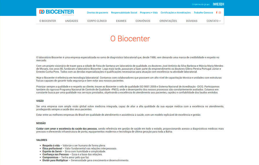 Site Biocenter 2018 - Click Interativo
