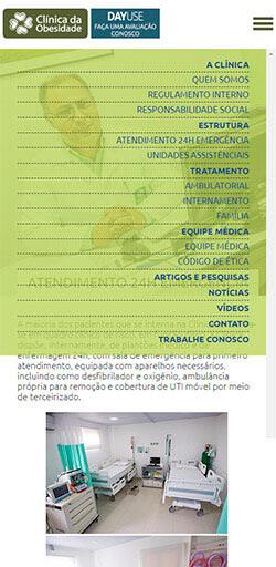 Menu do site da Clinica da Obesidade - Acessado via Celular