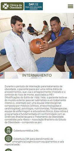 Página interna do site da Clinica da Obesidade - Acessado via Celular