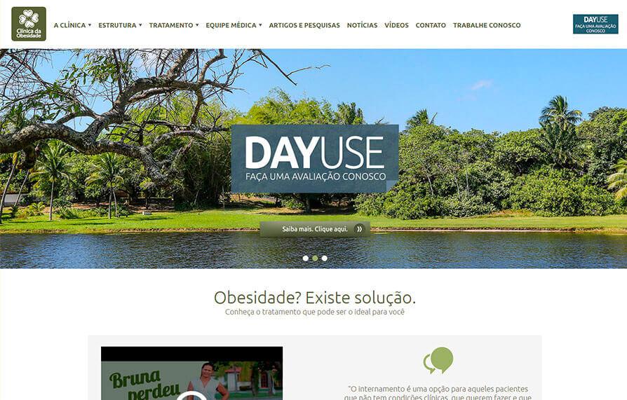 Home do site da Clinica da Obesidade - Acessado via computador
