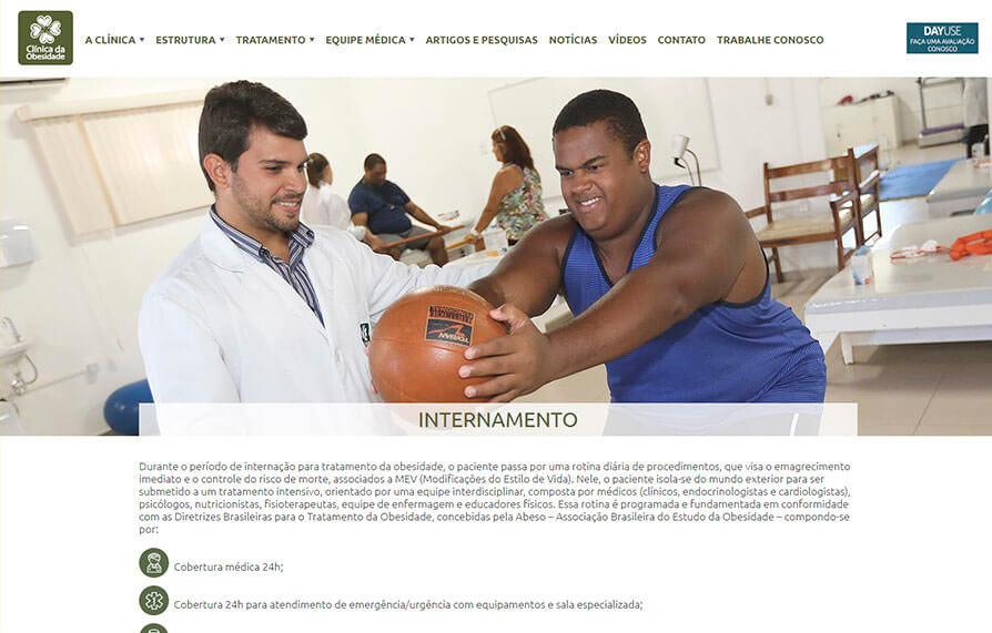 Página interna do site da Clinica da Obesidade - Acessado via computador