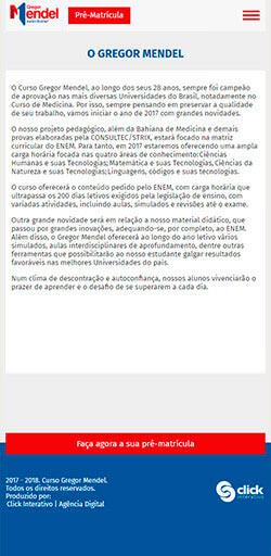 Site Curso Gregor Mendel Pré-Vestibular 2017 - Click Interativo