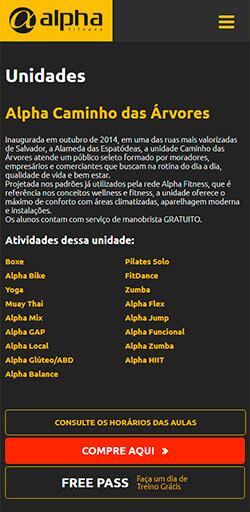 Página de Unidade do site Alpha Fitness - Versão celular