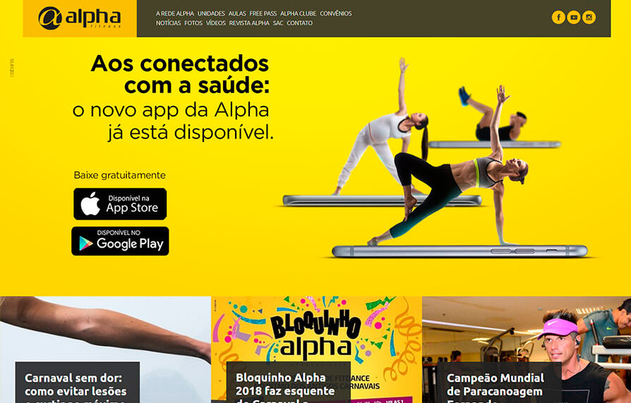 Home do site Alpha Fitness - Versão computador
