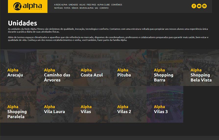 Página de Unidade do site Alpha Fitness - Versão computador