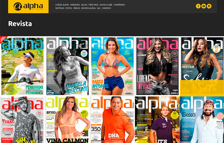 Página da Revista Alpha no site Alpha Fitness - Versão computador