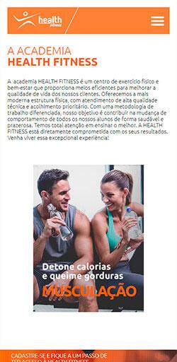 Site da Academia Health Fitness 2016 - Click Interativo