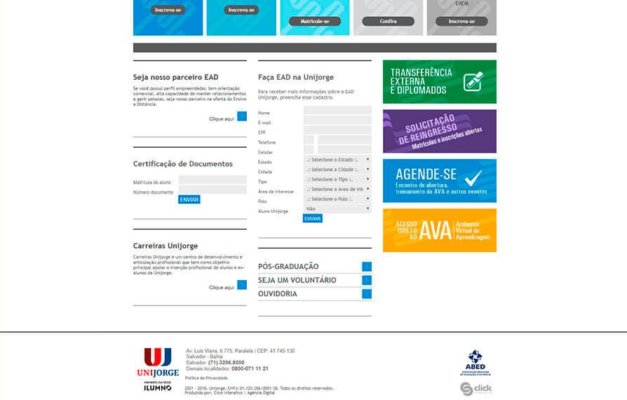 Site Unijorge EAD 2007 - Click Interativo