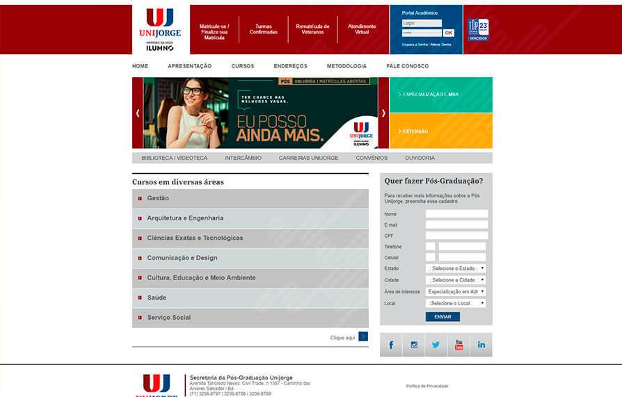 Site Pós-Graduação Unijorge 2007 - Click Interativo