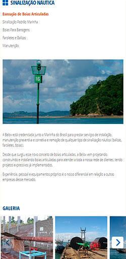 Página de serviços do site da Belov visto do celular - Click Interativo