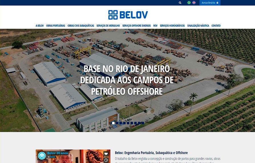 Home do site da Belov visto do computador - Click Interativo