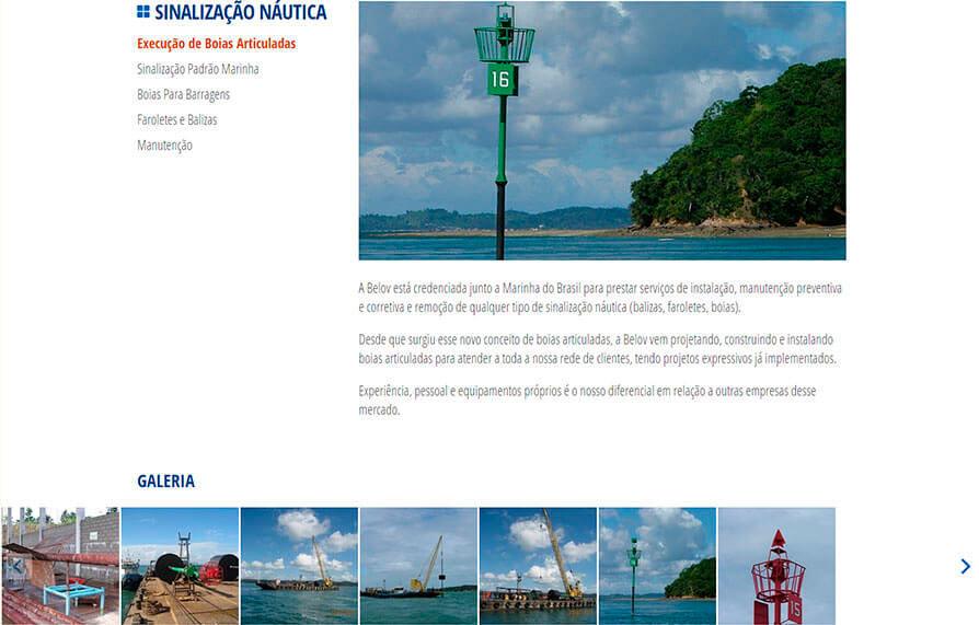 Página de serviços do site da Belov visto do computador - Click Interativo