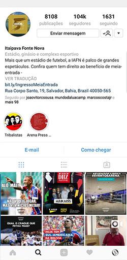 Instagram da Itaipava Arena Fonte Nova - Click Interativo