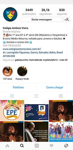 Instagram do Colégio Antônio Vieira - Click Interativo