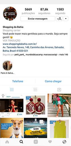Instagram do Shopping da Bahia - Click Interativo