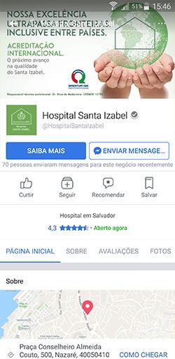 Fanpage do Hospital Santa Izabel no Facebook - Click Interativo
