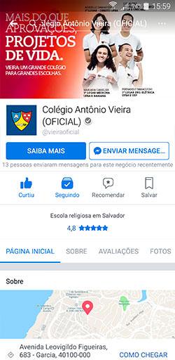 Facebook do Colégio Antônio Vieira - Click Interativo