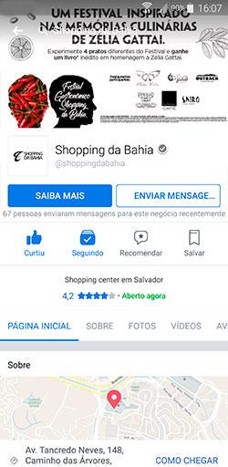 Facebook do Shopping da Bahia - Click Interativo