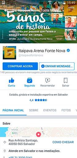 Facebook da Itaipava Arena Fonte Nova - Click Interativo