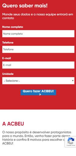 Página de Inscreva-se da Landing Page Matricula Acbeu - Versão celular