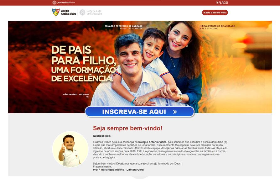 Home da Landing Page Matricula Colégio Antônio Vieira - Versão computador