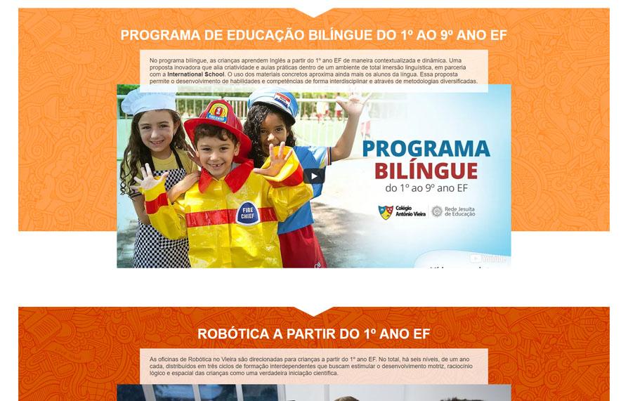 Página de Programa Bilíngue da Landing Page Colégio Antônio Vieira - Versão computador