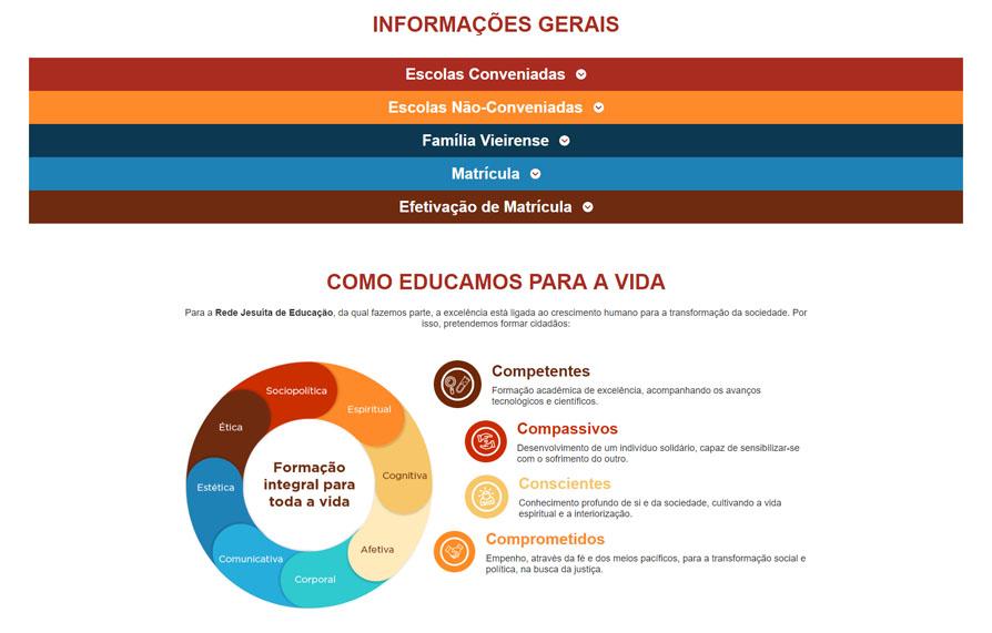 Página de Informações Gerais da Landing Page Colégio Antônio Vieira - Versão computador