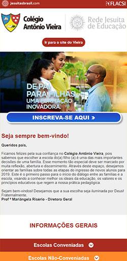Home da Landing Page  Matricula Colégio Antônio Vieira - Versão celular