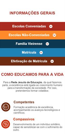 Página de Informações Gerais da Landing Page Matricula Colégio Antônio Vieira - Versão celular