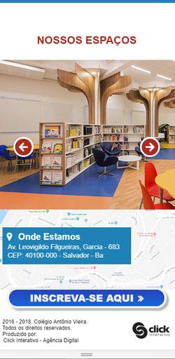 Página de Nossos Espaços da Landing Page Matricula Colégio Antônio Vieira - Versão celular