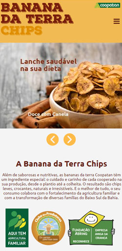 Banana da Terra Chips - Site Responsivo - Click Interativo